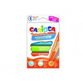 Carioca 42675 - Confezione 6 Temperello Tempera in Stick Neon