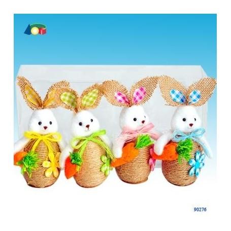 Ginmar 90276 - Pasqua - Confezione 4 Conigli Corpo in Corda
