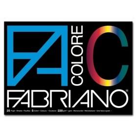Fabriano 65251524 - Blocco Cartoncini Colorati 220gr 5 colori 24 x 33