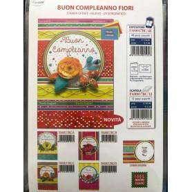 Cecami 17BC - Biglietti Buon Compleanno Fiori Conf.12 pz.