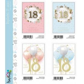 Marpimar T20LO236 - Biglietti Compleanno 18 Anni 18x12 cm 4 Soggetti Conf. 12 pz