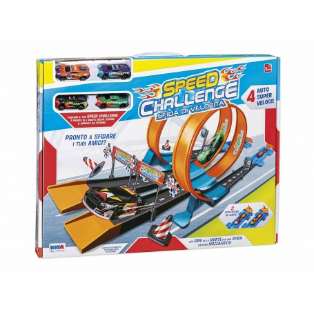 Rstoys 11188 - Pista Lancio 2 Corsie Speed Challenge con 4 Auto