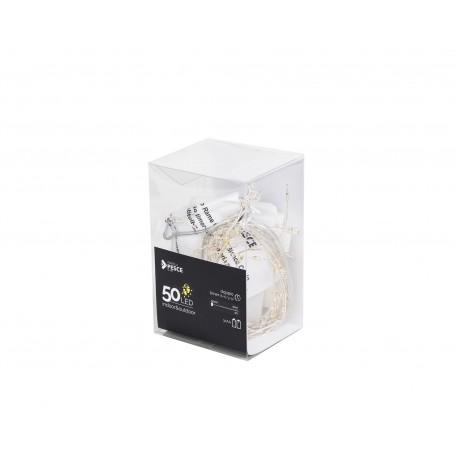 Fratelli Pesce 8242 - Catena a Grappolo in Rame 50 Led a Batteria Interno Esterno Bianco Caldo