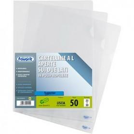 Favorit 460047 - Buste Trasparenti Lisce a L Formato A4 22x30 Cf.50 pz.