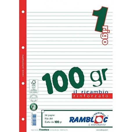 Rambloc 905 - Ricambi Anelli Rinforzati F.to A4 21x29 100gr.