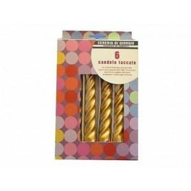Cereria Di Giorgio 60322 - Cf. 6 Candele Laccate Torciglione 21 Cm Oro